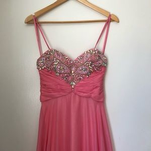 Strapless Pink Gown with Beaded & Ruched Bodice